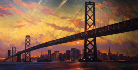 Sunset on the Bay Bridge - Canvas Print