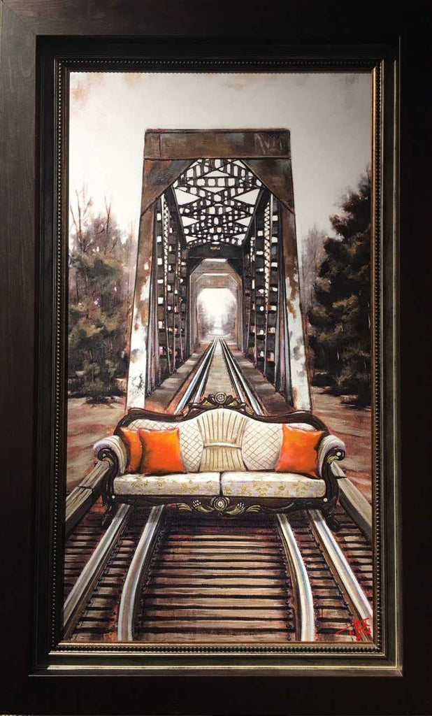 The Journey by Pete Tillack - limited edition canvas print of sofa on the railroad tracks framed
