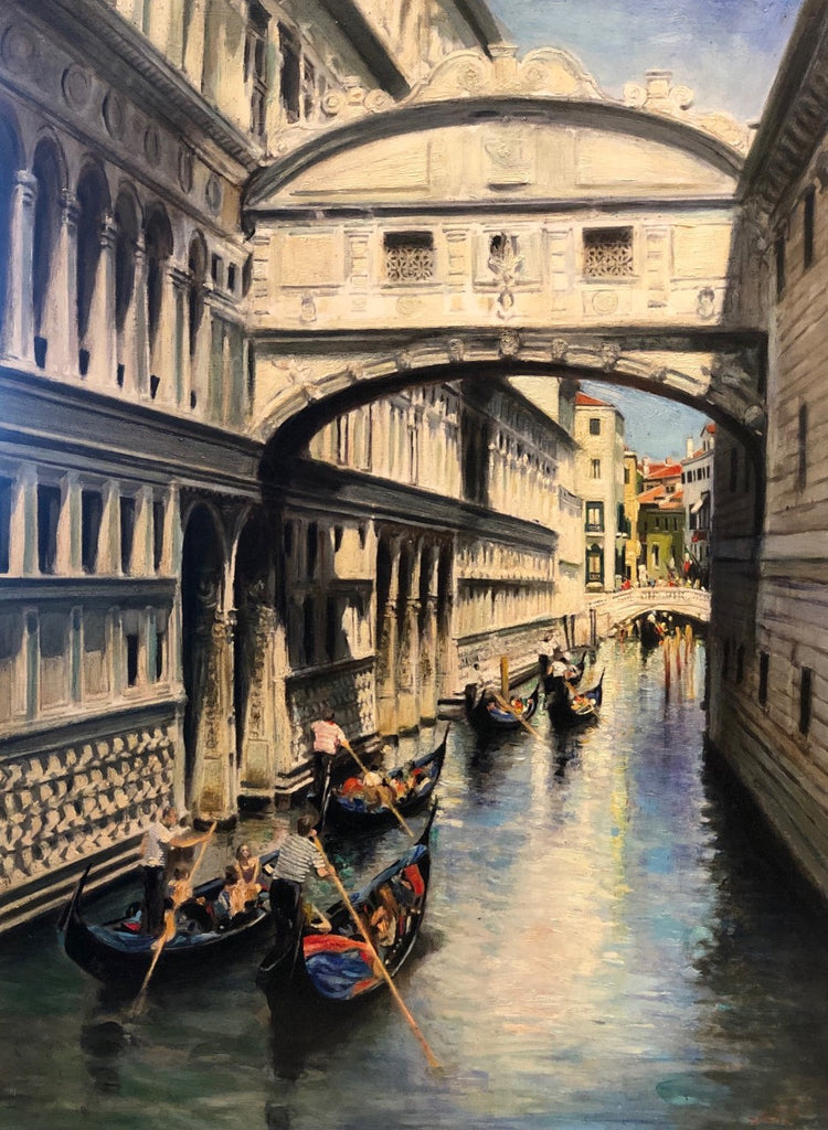 "The Bridge of Sighs in Venice 18x13"" oil on panel"