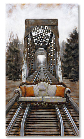 The Journey by Pete Tillack - limited edition canvas print of sofa on the railroad tracks