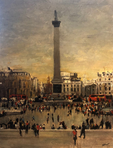 "Trafalgar Square London 14x11"" oil on panel"