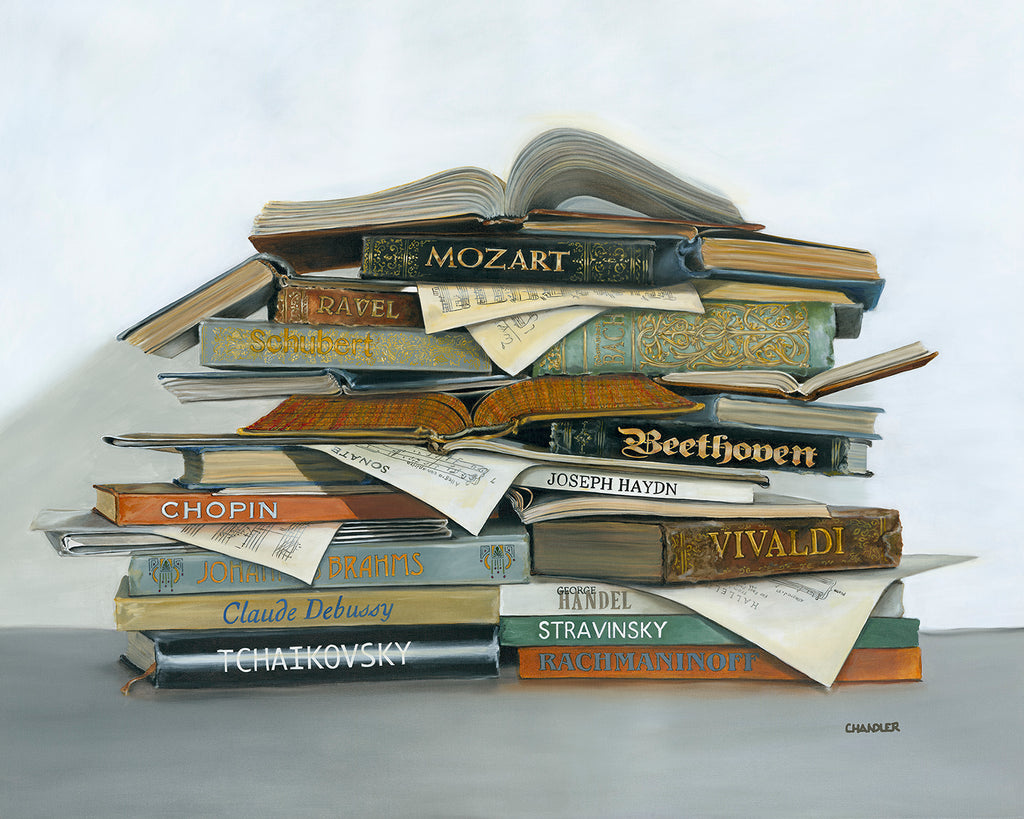 Treble Makers original oil by Gail Chandler features a stack of books by famous composers