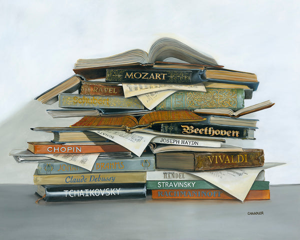 Treble Makers canvas print by Gail Chandler features a stack of books by famous composers