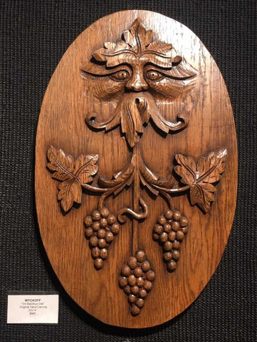 "Vin Bacchus 22x14"" original oak wood carving by Erik Wyckoff"