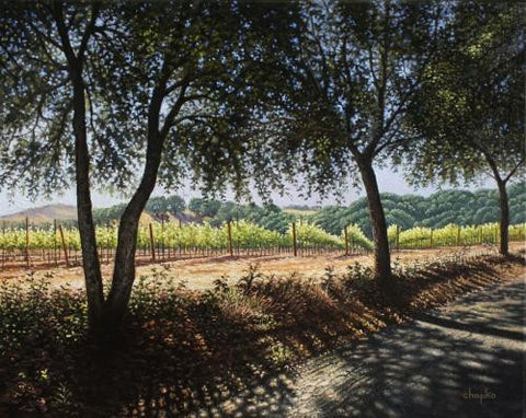 Vineyard View from a Road Less Taken original oil by Valdimir Chapko - Master of Light and Shadow