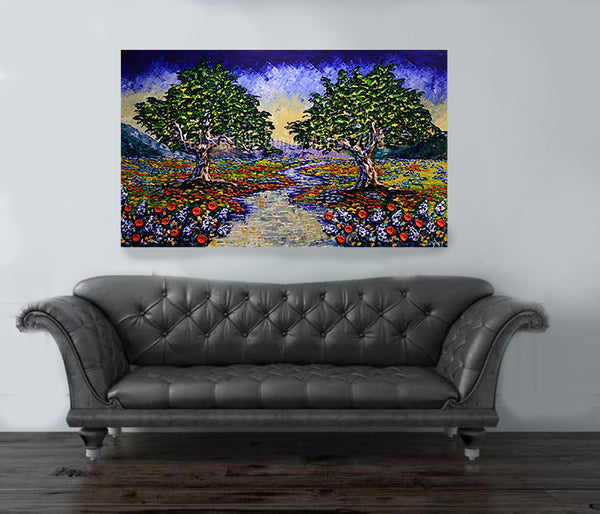 "Colorful Retreat Along the Stream 36x60"" original"