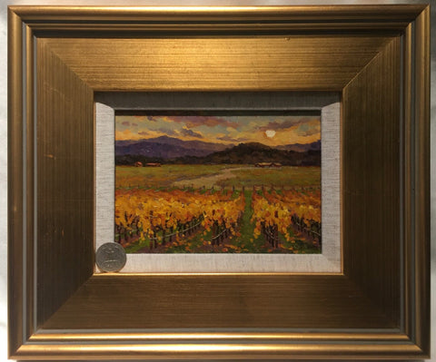 "Wine Country Sunset 5x7"" original oil"