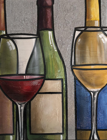Wine Abstract III ultra textural original acrylic painting on canvas by Patrick O'Rourke