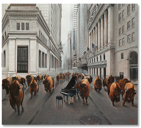 "Bull Market 48x54"" original oil artist framed"