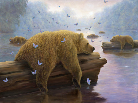 Drifters by Robert Bissell - Bears drifting on logs down the river