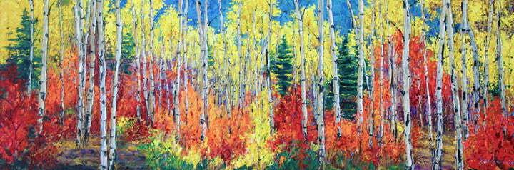 Fall Sensation by Jennifer Vranes features the aspen or birch trees in the fall.