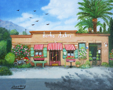 "2.5"" x 3.5"" Bistro Jeanty mini print by Imre Buvary custom framed"