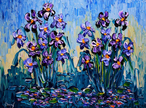 "Beautiful Irises of Colorful Waters 30 x 40"" original"