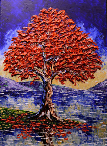 "Tall Maple of Autumn Beauty 40 x 30"" original"
