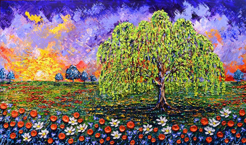 "Glorious Willow of the Poppy Fields 36 X 60"" original by Isabelle Dupuy"