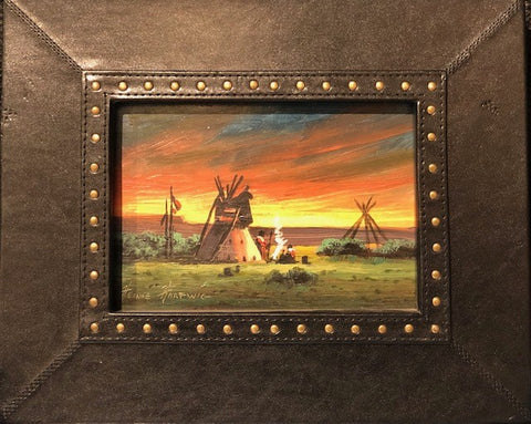 "Sunset on the Plains 5x7"" original oil"