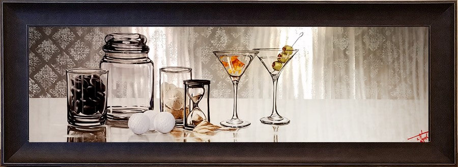 "Drinks With Friends 13 x 48"" original oil on metal"