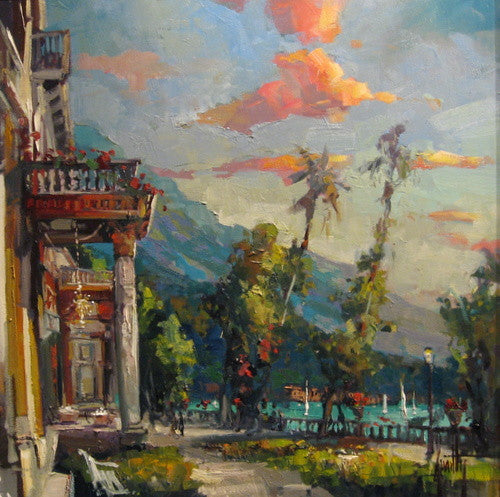 View of Lago Como an original oil by Steven Quartly depicting Lake Como.