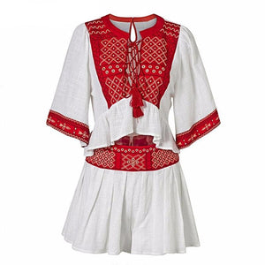 DAMASCUS Two-Piece Embroidered Top and Short