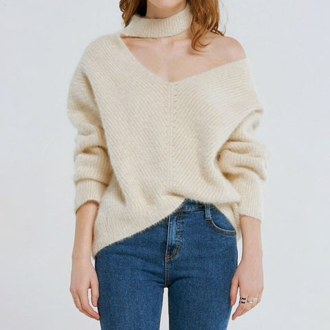 DIRRILLA Cut Out Turtle Neck V-Neck Sweater