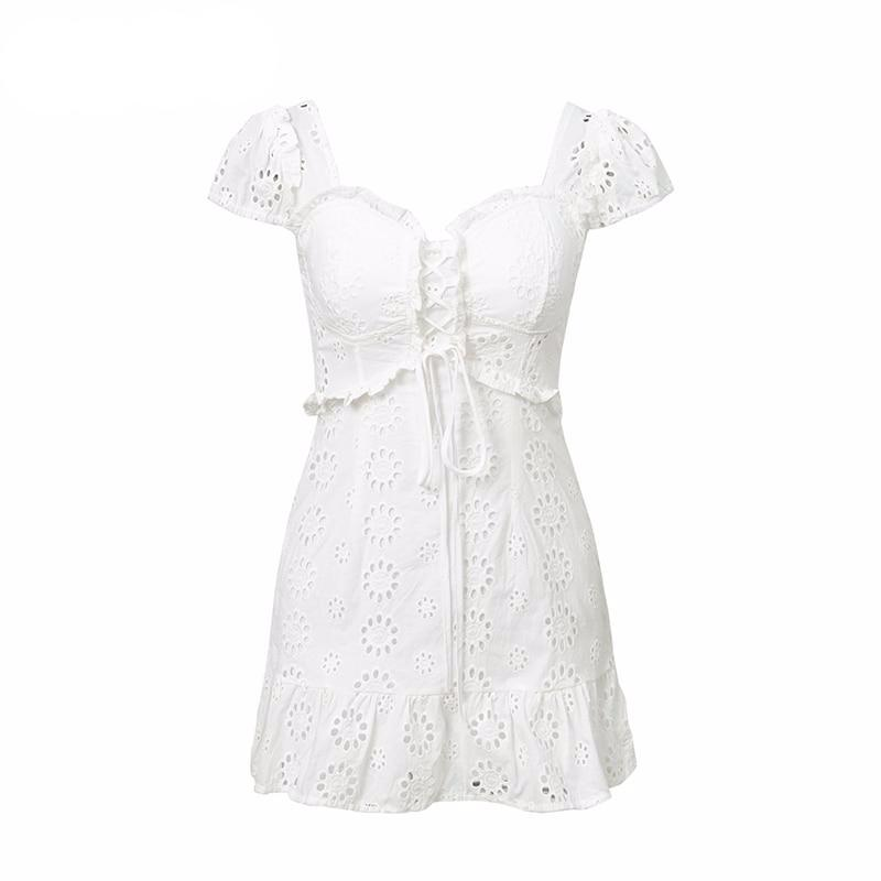 CAROL Baby Doll Eyelet Mini Bustier Dress