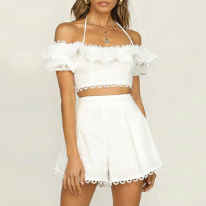ALICE Crop Two-Piece Dotted White Set Shorts