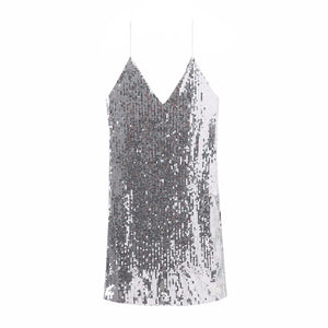 LEPRIKA Silver Sequin Mini Party Dress