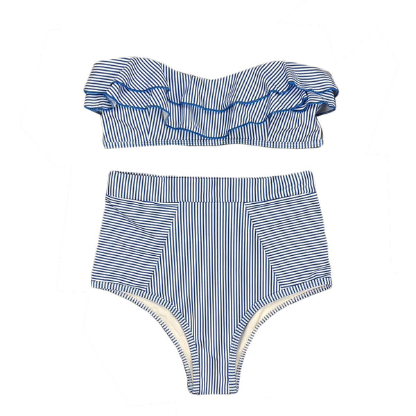 DIKA Ruffle Stripes High Waist Bikini