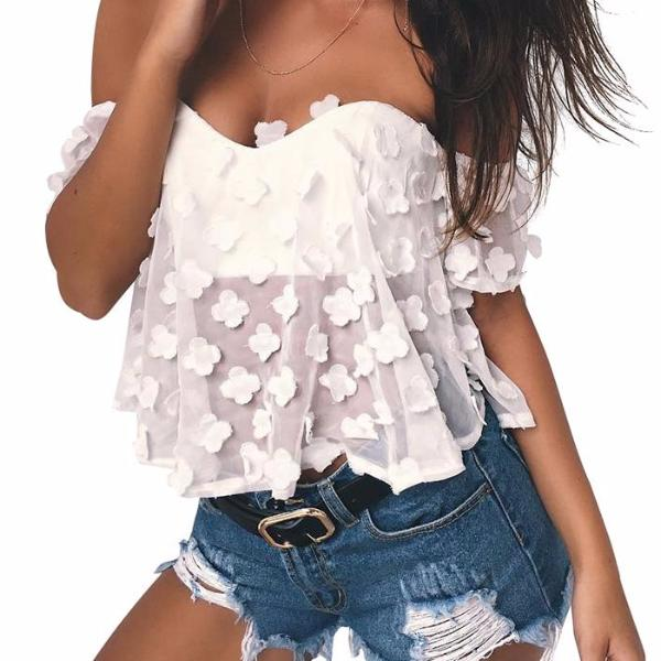 HEDIA Clover Baby Doll White Tube Top