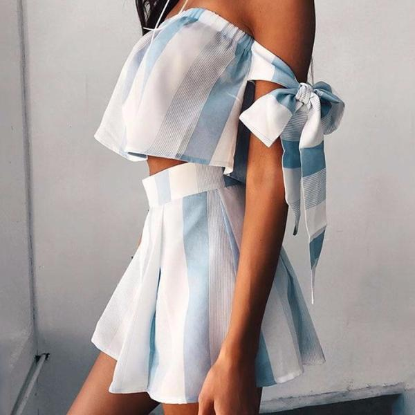 BODRUM Two-Piece Blue Sky Striped Crop Top and Short