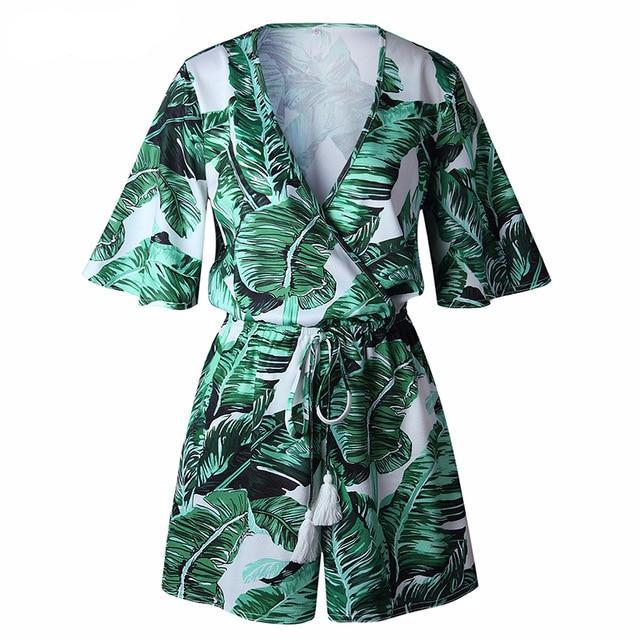 IPANEMA Green Leaves Deep Plunge Romper
