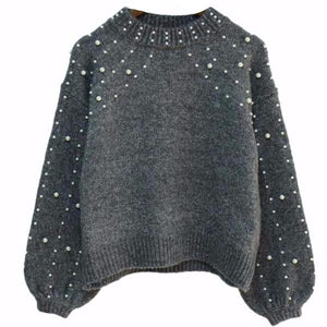 ANABEL Beaded Bell Sleeves Gray Crop Sweater