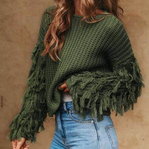 MIA Tassels Sleeves Crew Neck Sweater