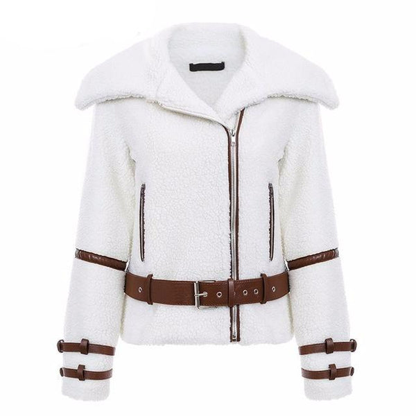 OLIE Faux Fur Lamb Motorcycle Jacket