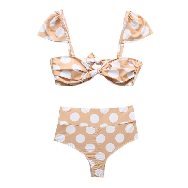 KIELA Polka Dot Baby Doll High-Waisted Bikini
