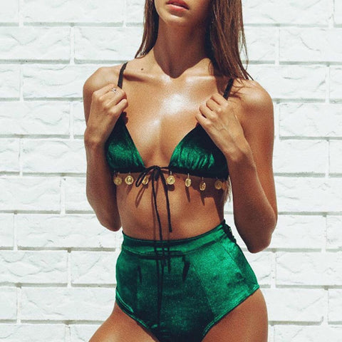 ELY BoHo Coins Green High Waisted Bikini