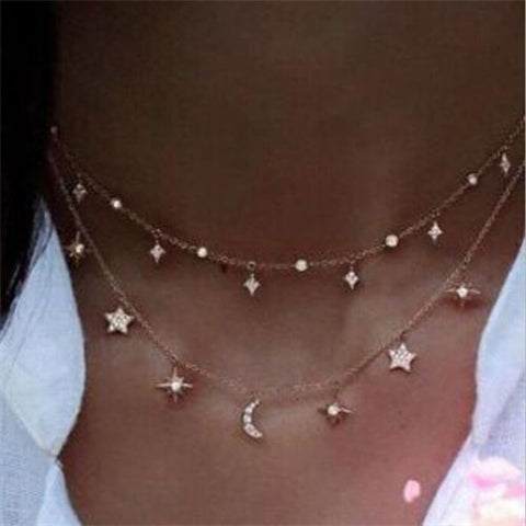 CHELA Lunar Double Layer Necklace