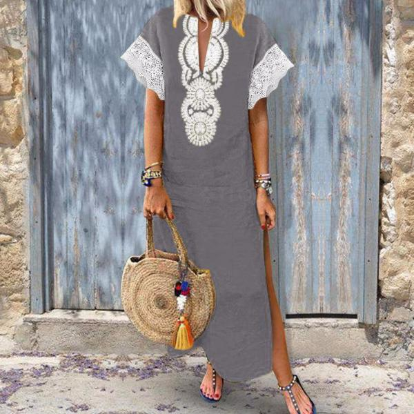 DIRA V-Neck Kaftan Boho Long Dress