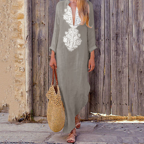 WILAS Long Sleeves Kaftan Maxi Long Dress