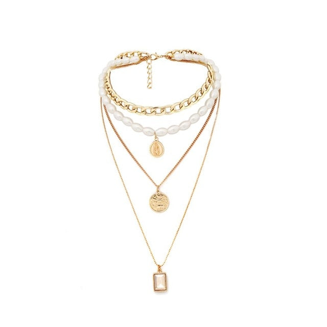 DONNA Faux Pearl Multi-Layers Necklace