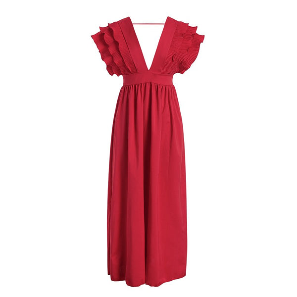 BIANCA V Deep Plunge Ruffle Long Maxi Dress