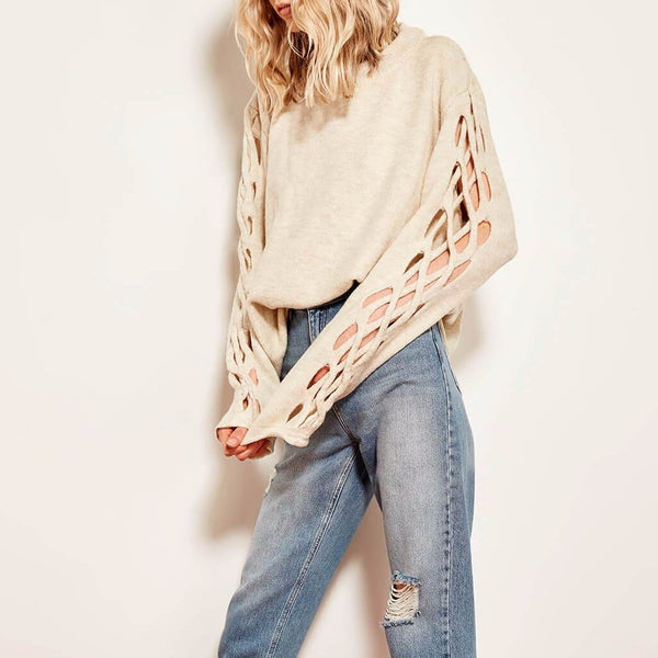 VYNA Braided Sleeves Sweater