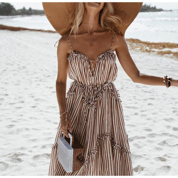 DIANE Striped Spaghetti Straps Long Maxi Dress
