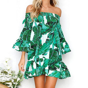 PANAMA Off-The-Shoulder Green Leaves Dress