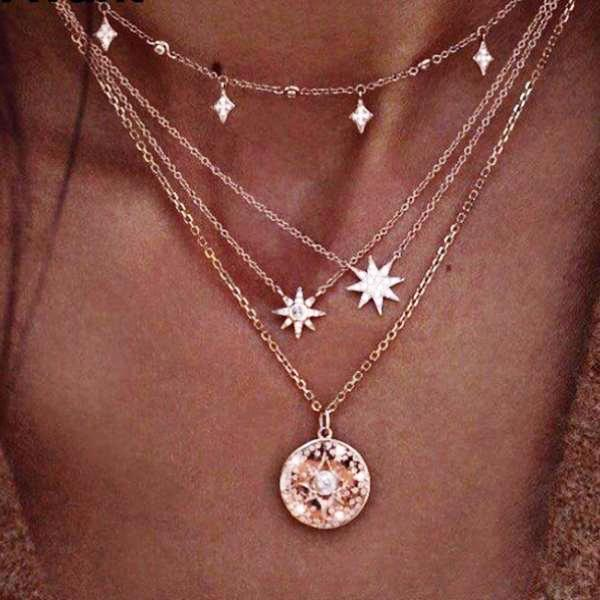 ELIZE Multi-Layers Stars Coins Necklace
