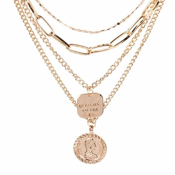 AVA Multi-Layers Coin Golden Necklace