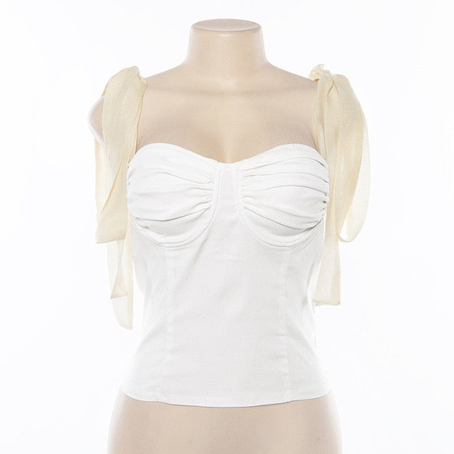 SARA Baby Doll Bustier Ribbon Bra Top