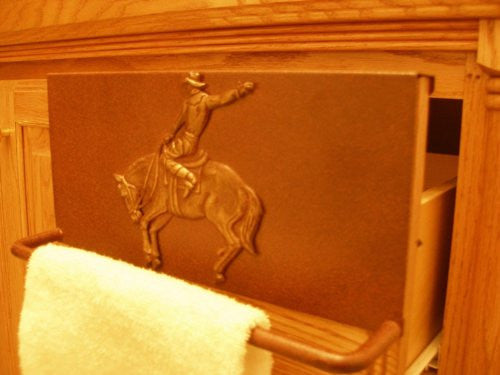 Towel Bar with Bucking Bronc Rider