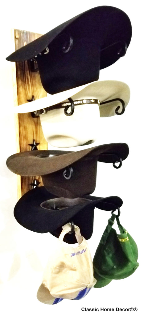 American Made Cowboy Hat Racks with STARS Charred 4 Tier