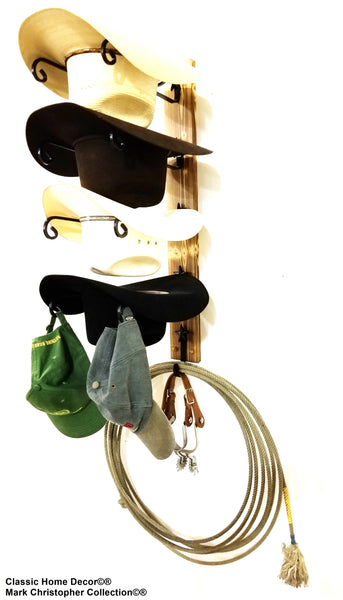 Cowboy Hat Rack with hook American Made Charred 4 Hook